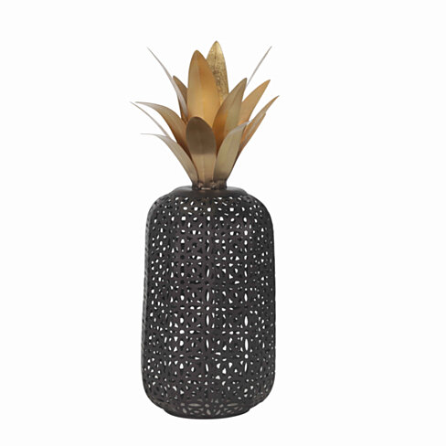 Metal Pineapple Decor with Cut Out Details, Large, Black and Bronze