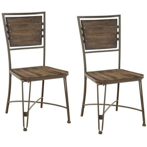 Metal Side Chair with Wooden Back and Seat, Set of 2, Brown and Gray