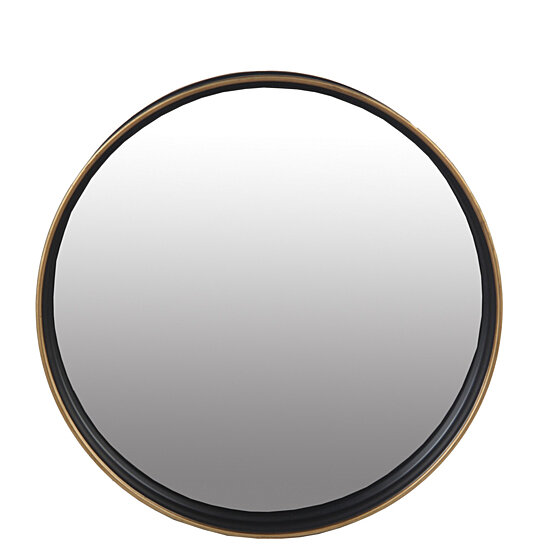 Buy Metal Wall Round Mirror With Raised Edges Large Black And Bronze By Benzara Inc On Dot Bo