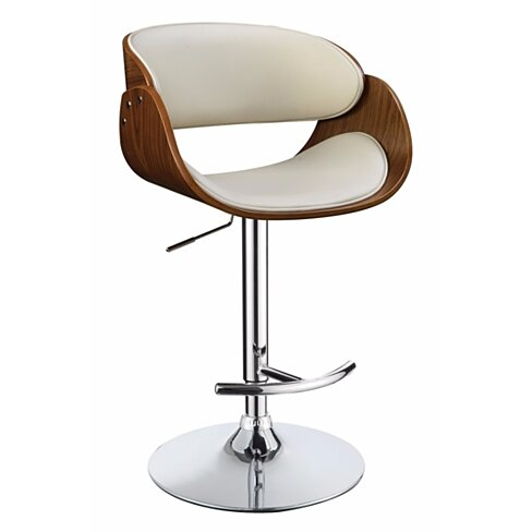 Modern Style Adjustable Bar Stool, White And Brown
