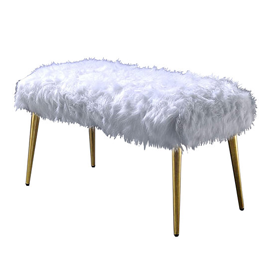 Buy Modern Style Faux Fur Upholstered Metal Bench With Tapered Legs White And Gold By Benzara Inc On Dot Bo