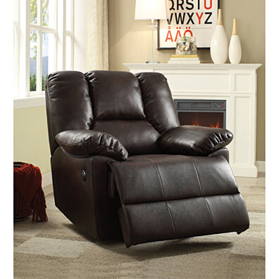 Oliver Recliner (Power Motion) Dark Brown Leather-Aire : living room recliners - islam-shia.org