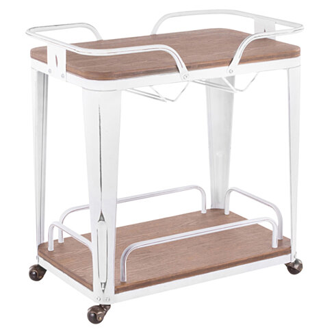 Oregon Industrial Bar Cart in Vintage White Metal and Espresso Wood-Pressed Grain Bamboo