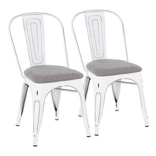 Oregon Farmhouse Stackable Dining Chair In Vintage White Metal And Light Grey Fabric Set Of 2