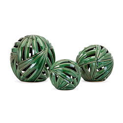 Palmetto Wall or Deco Balls - Set of 3 - Green- Benzara