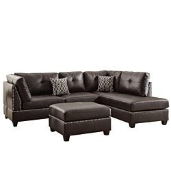 Plushed Bonded Leather 3 Pieces Sectional Set In Brown