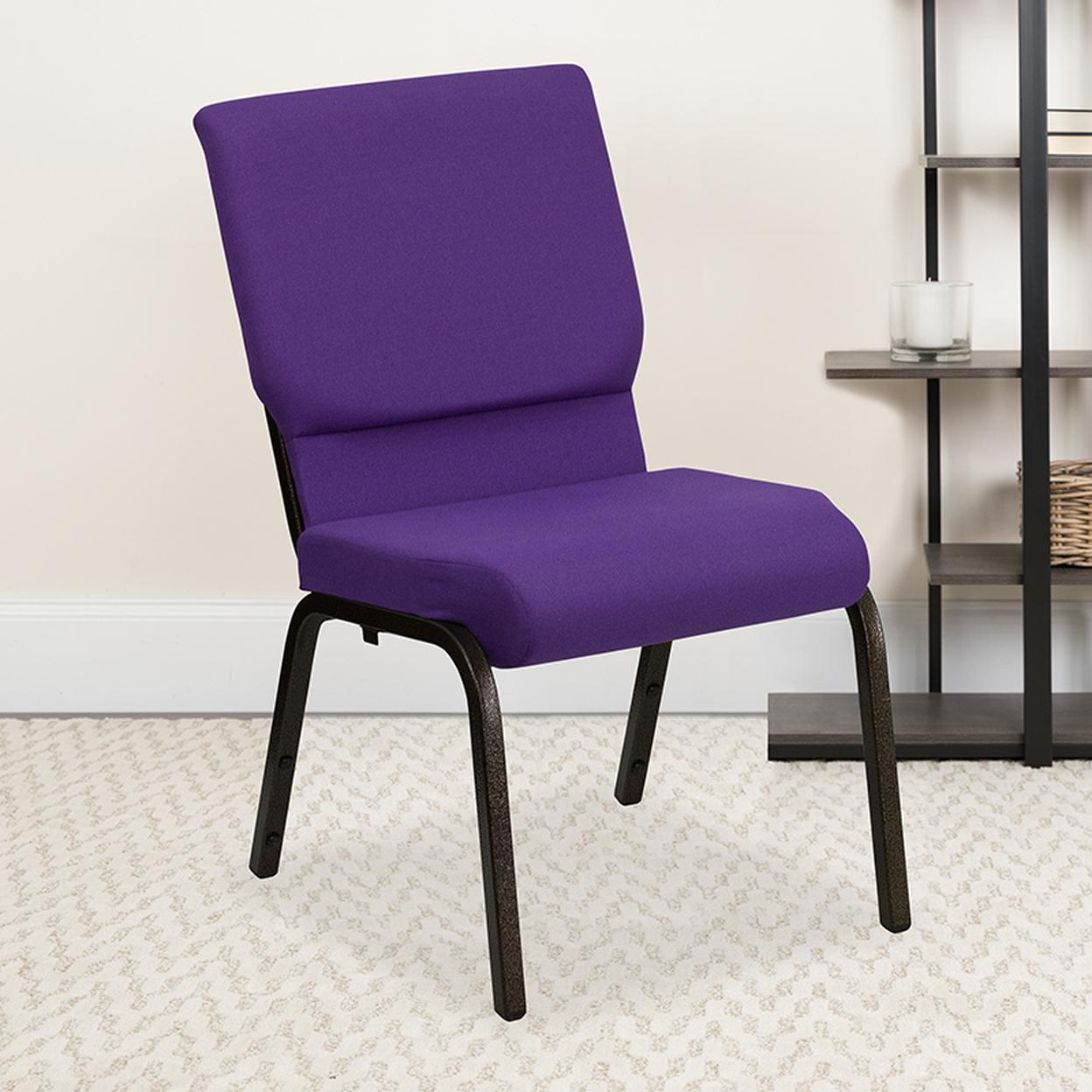 Purple Fabric Church Chair Goldvein, Purple
