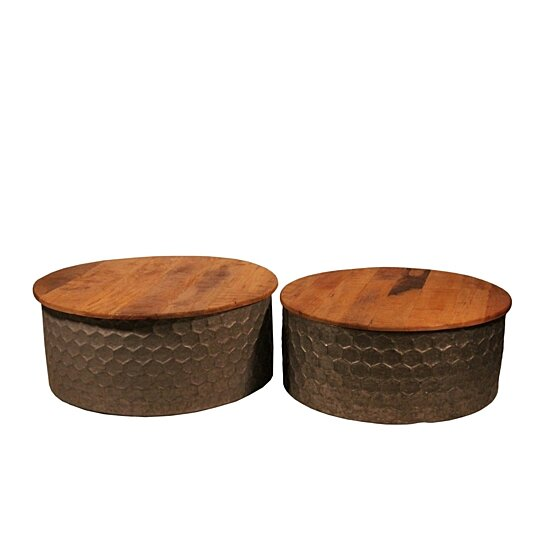 round coffee table with honey b metal base set of 2 bronze and brown