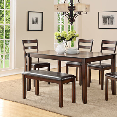 Rubber Wood 6 Pieces Dining Set In Brown