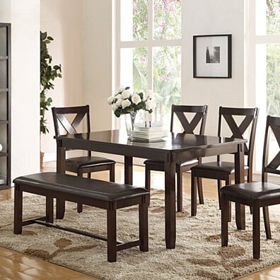 Rubber Wood 6 Pieces Dining Set In Espresso Brown