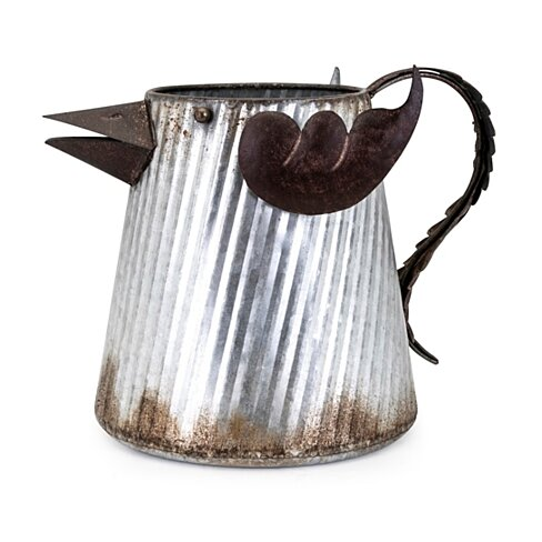 Rustic Iron Watering Can with Handle, Gray and Brown
