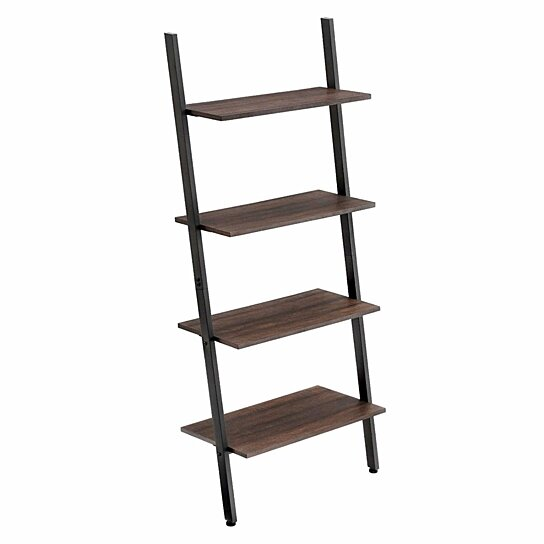 Marvelous Rustic Style Iron Bookcase With Four Tier Wooden Shelves Brown And Black Home Interior And Landscaping Mentranervesignezvosmurscom