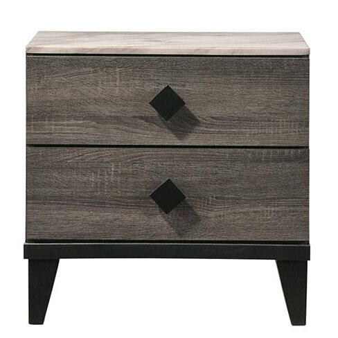 Saltoro Sherpi 2 Drawer Wooden Nightstand with Grains and Angled Legs, Gray