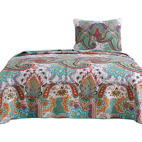 Saltoro Sherpi 2 Piece Twin Size Cotton Quilt Set with Paisley Print, Teal Blue
