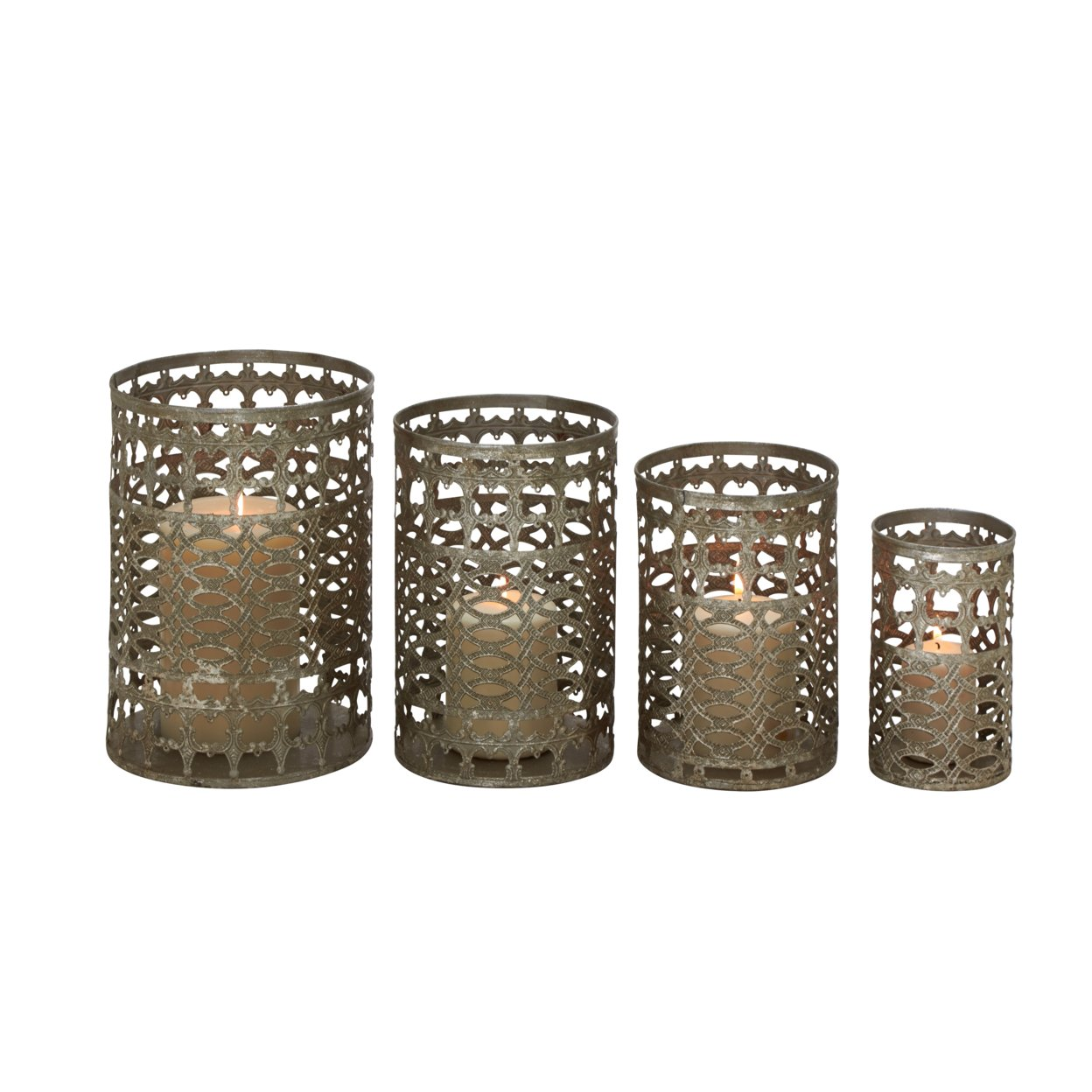 Set Of 4 Radiating & Unique Styled Metal Candle Holder 59c24579e224615b7110449a