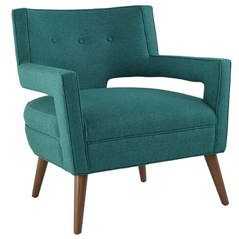 Sheer Upholstered Fabric Armchair, Teal