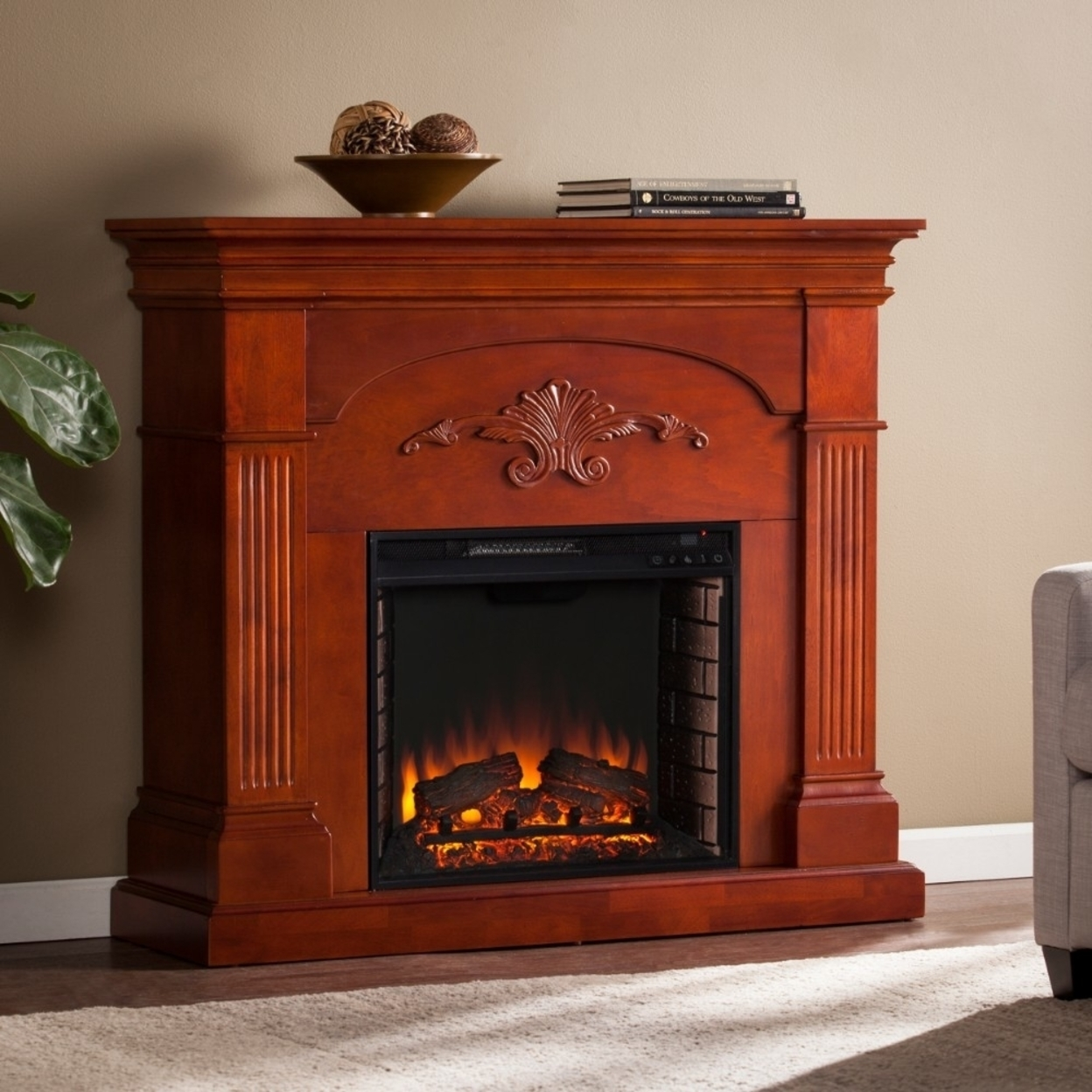 Sicilian Harvest Electric Fireplace - Mahogany 58995683c98fc433fe5a52b8