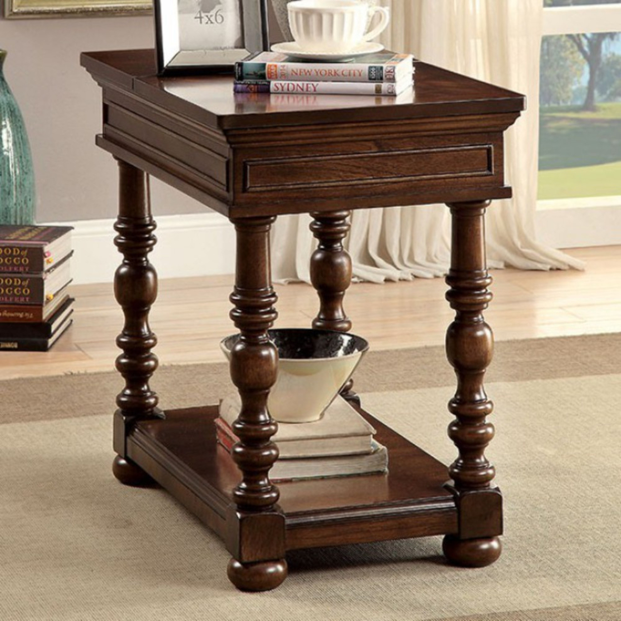 Side Table, Brown Cherry (17-p914)