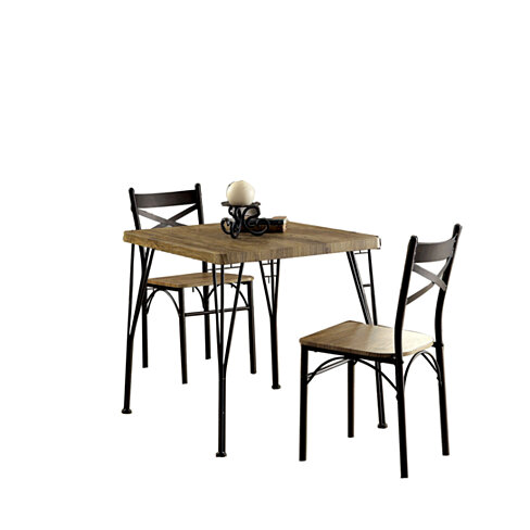 Industrial Style 3 Piece Dining Table Set Of Wood And Metal