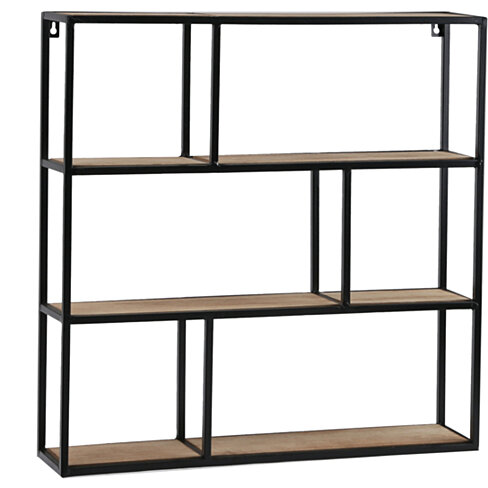 Square Wooden Wall Shelf with Metal Frame and Hangers, Brown and Black