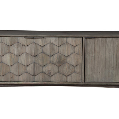 Stylish Wooden TV Console With Three Door Cabinets And Flared Legs, Gray