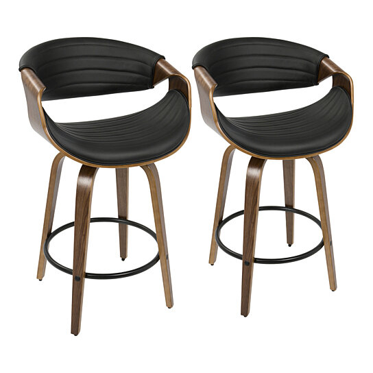 Brilliant Symphony Mid Century Modern Counter Stool In Walnut And Black Faux Leather Set Of 2 Squirreltailoven Fun Painted Chair Ideas Images Squirreltailovenorg