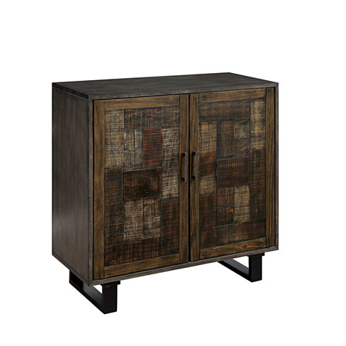 Textured Double Door Wooden Hallway Cabinet with Four Shelves, Brown and Black