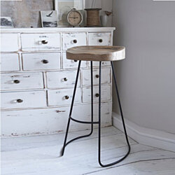 Wooden Saddle Seat Bar stool with Metal Legs, Small, Brown and Black