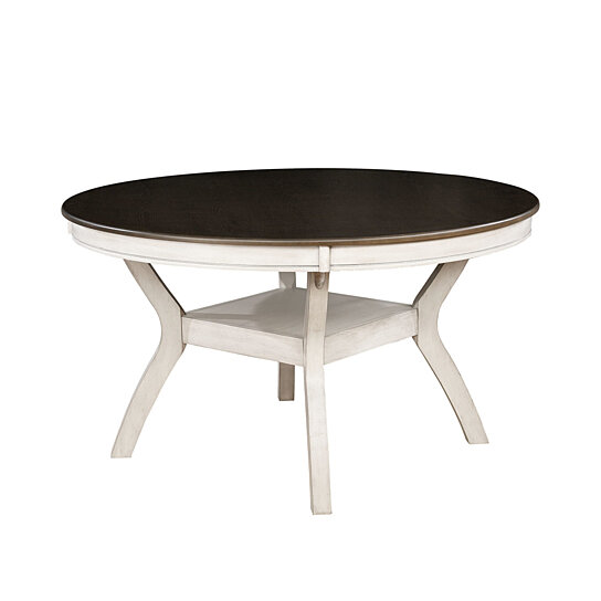 Transitional Style Solid Wood Round Dining Table with Turned Legs, White  and Brown