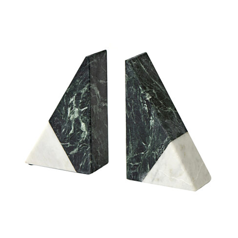 Triangular Shape Marble Bookends, Pack of 2, White and Dark Green