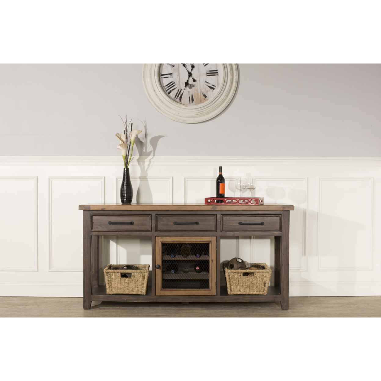 Tuscan Retreat ? Sofa Table With Wine Rack And Two (2) Baskets