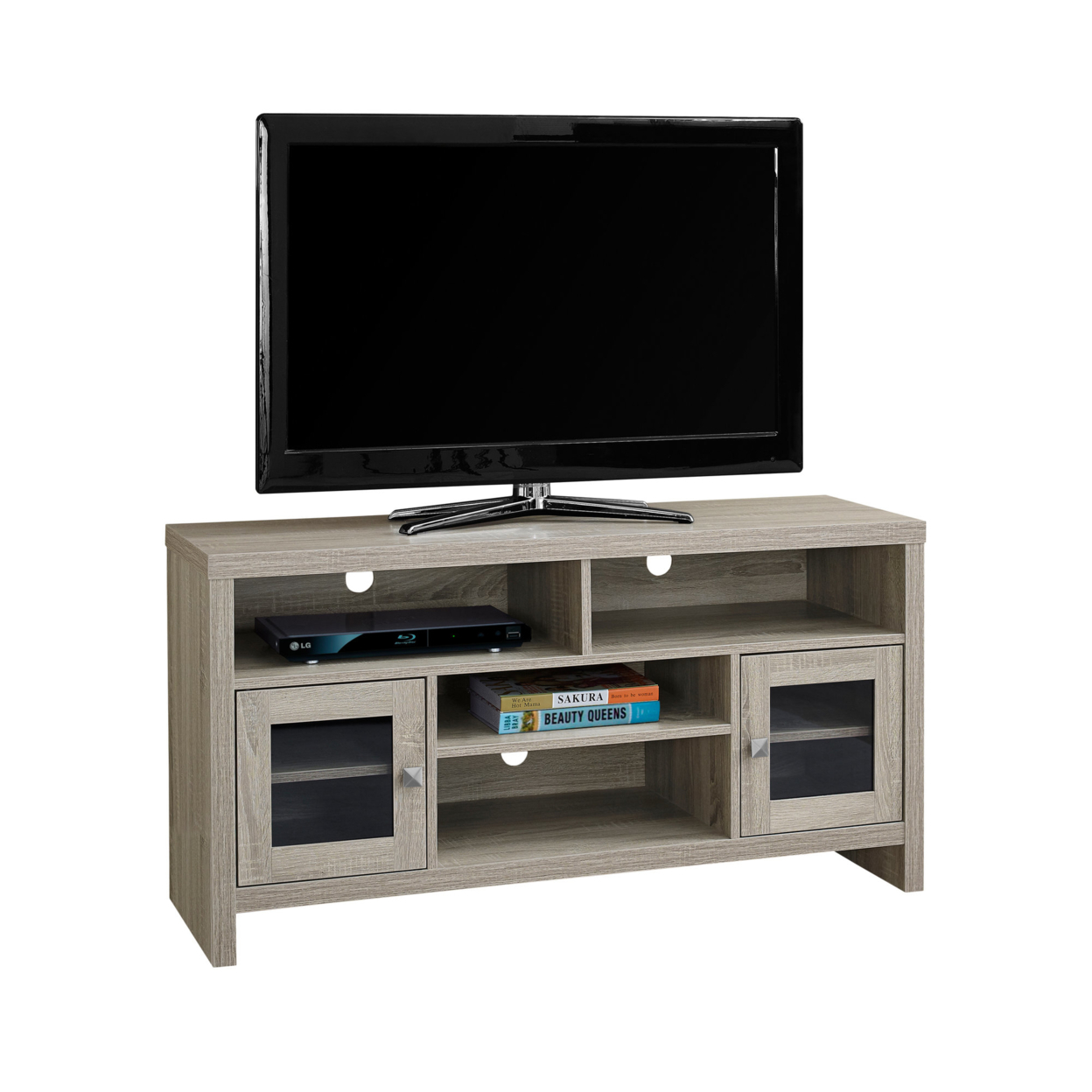 """TV Stand - 48\""""l, Dark Taupe With Glass Doors 5a54622f2a00e41a3d4fa968"""