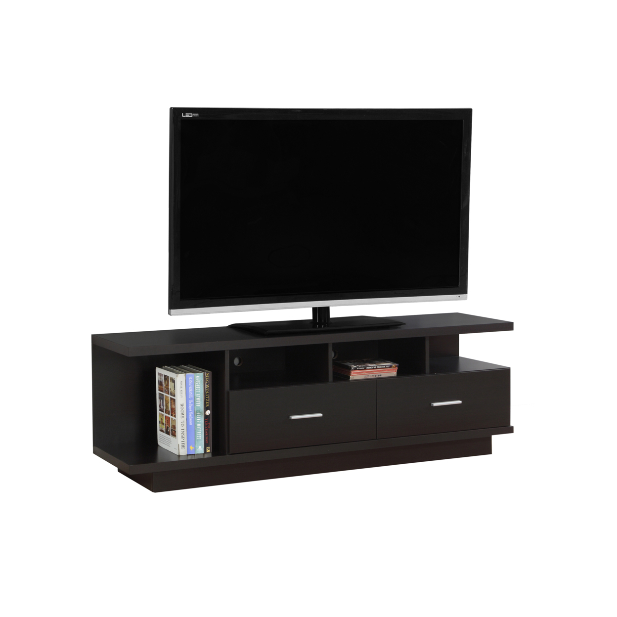 "TV Stand - 60""l, Cappuccino With 2 Drawers, 2674 5a5461f2e224613745476f66"