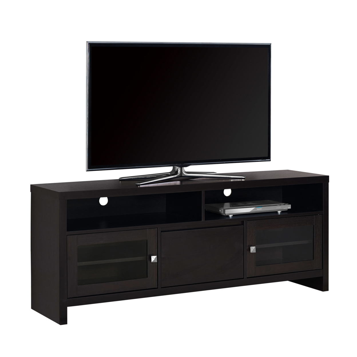 """TV Stand - 60\""""l, Cappuccino With Glass Doors 5a54622fe2246137465bc31f"""