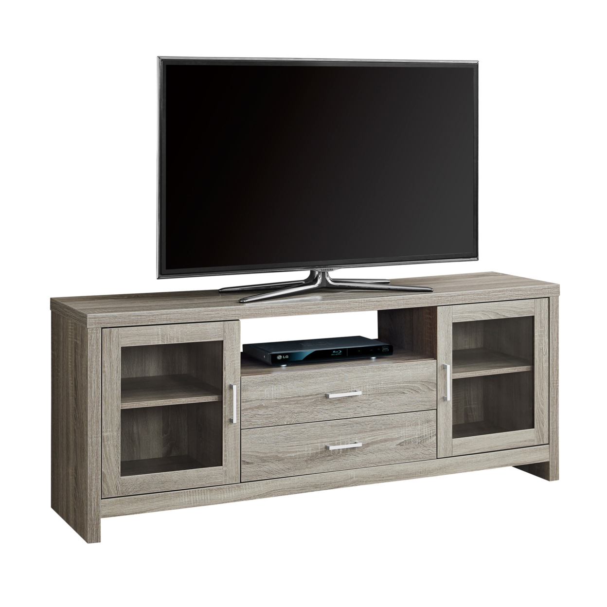 "TV Stand - 60""l, Dark Taupe - Drawers, Glass Doors 5a54622fe22461374547735a"