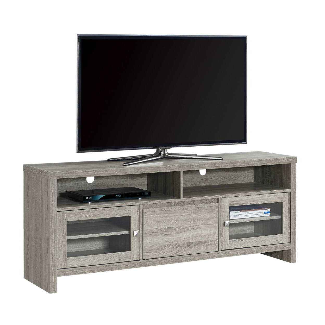 "TV Stand - 60""l, Dark Taupe With Glass Doors 5a54622fe22461374744f3db"