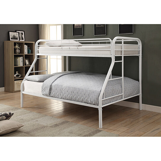 Buy Twin Over Full Bunk Bed In With Metal Frame White By Benzara Inc On Dot Bo