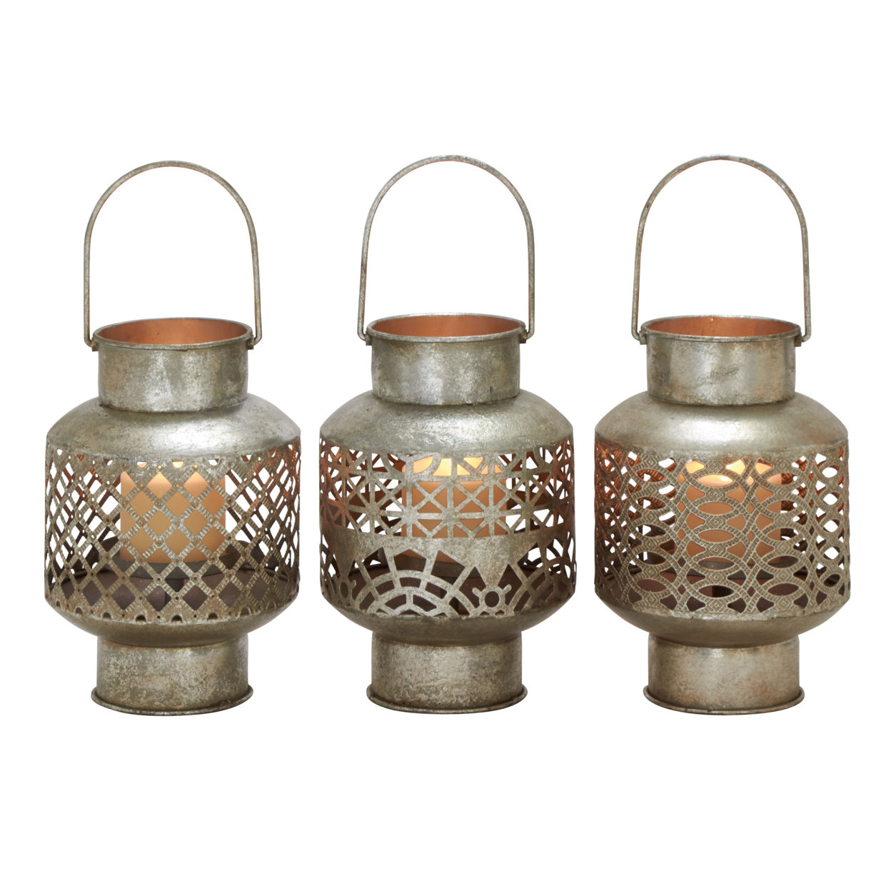 Unique Styled Metal Glass Lantern 3 Assorted 59c24579e224615b7a12419d