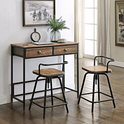 Urban Loft Breakfast Table with Two Swivel Stools