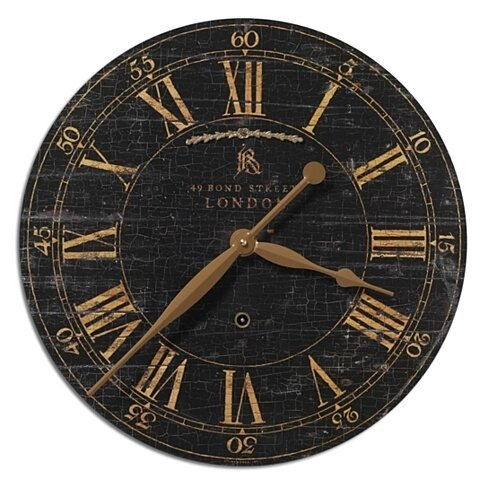 "Uttermost Bond Street 18"" Black Wall Clock"