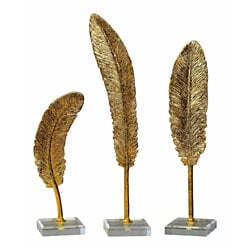 Uttermost Feathers Gold Sculpture Set of 3