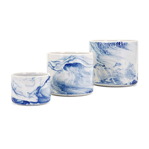 Willow Faux Marble Planters - Set of 3 - White & Blue - Benzara