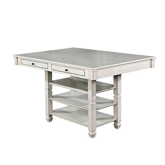 Buy Solid Wood Counter Height Table With Drawers And Open