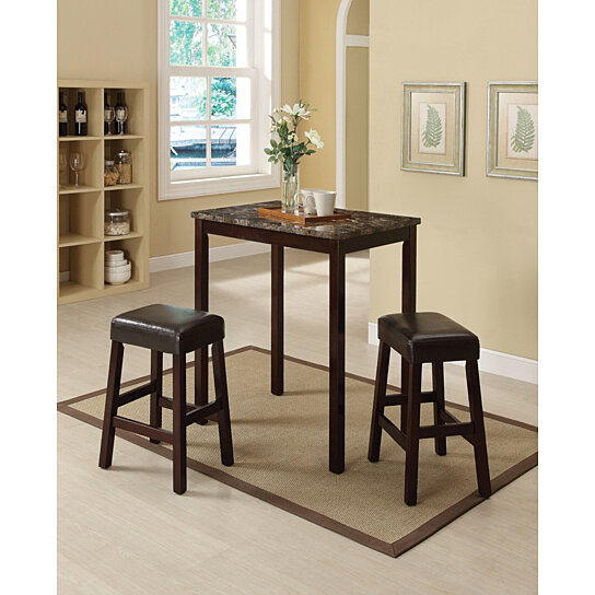 Wood & Marble Counter Height Set, 3 Piece Pack, Brown