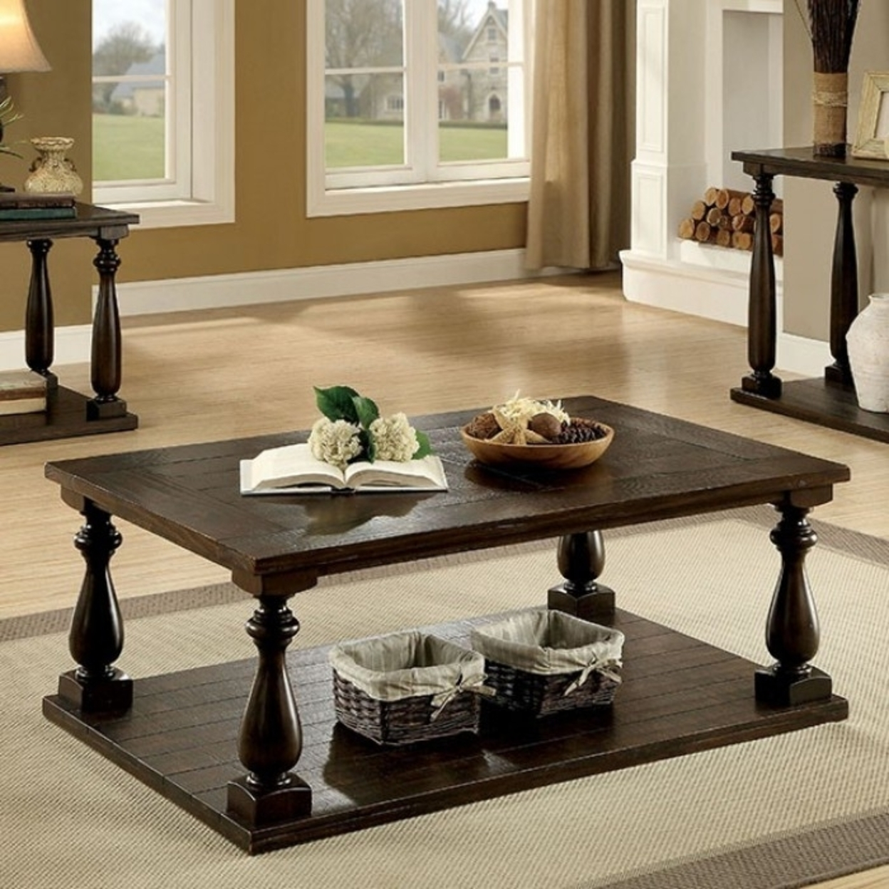 Wooden Coffee Table with Open bottom Shelf, Dark Walnut Brown 5a7ad20ee22461453f640c88