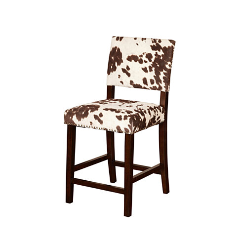 Wooden Counter Stool with Cow Print Upholstery, Brown and White