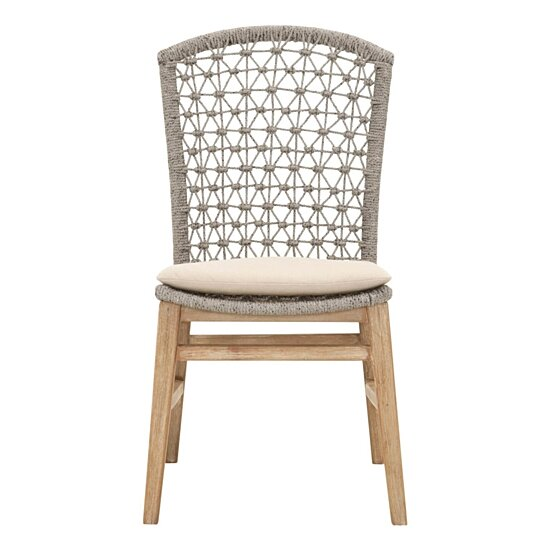 Buy Wooden Dining Armless Chair With Rope Work Brown And