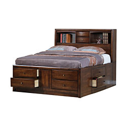 Wooden Queen Size bed with 10 Drawers and 2 Open Shelves, Walnut Brown