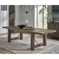 Wooden Rectangular Dining Table with Bulky Plank Feet, Oak Brown