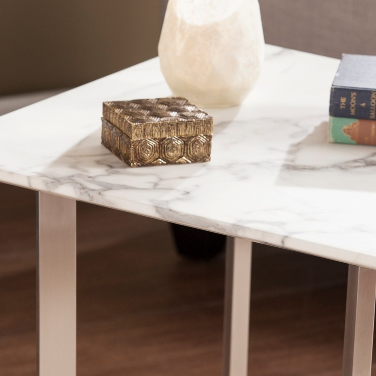 Wrexham Faux Marble End Table - Soft Ivory with Gray 594b6cc02a00e42e264f0df9